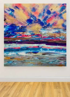 Sunrise Abstract Mixed Media Original Painting by Helen Lack