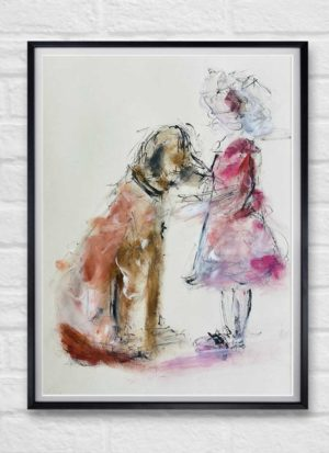 Child and Dog Figurative Illustration Art Print by Helen Lack