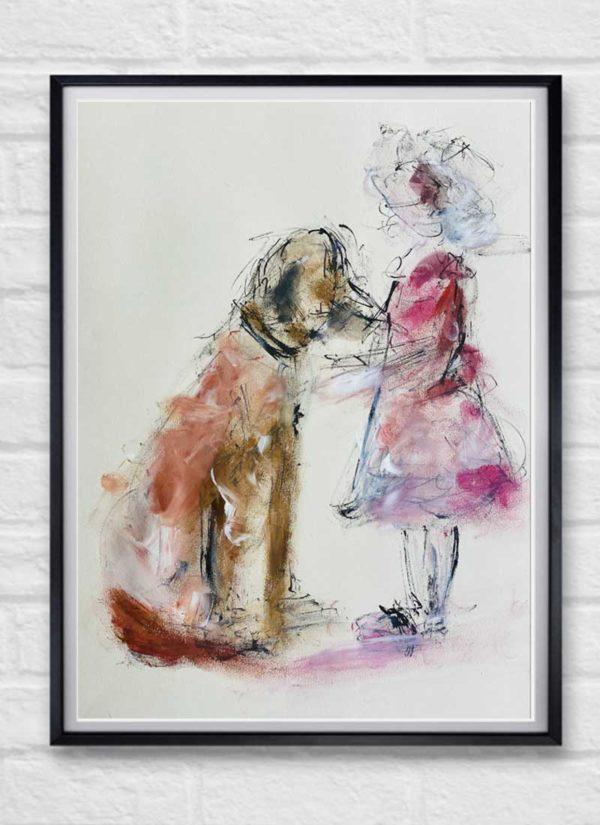 Child and Dog Figurative Illustration Art Print by Helen Lack