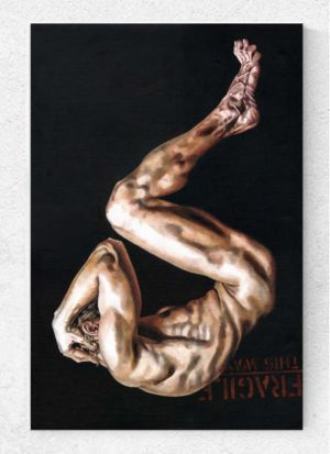 Fragile, This Way Up Figurative Male Nude Oil Art by Louise Bird