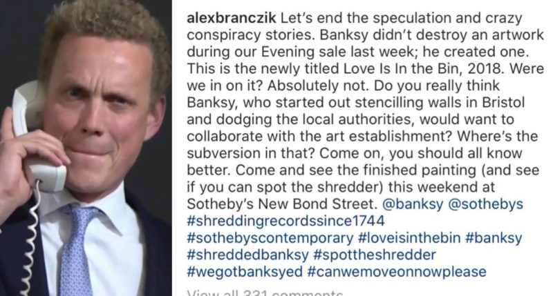 Sotheby's attempt to quash the rumour mill surrounding Banksy's shredded Balloon Girl