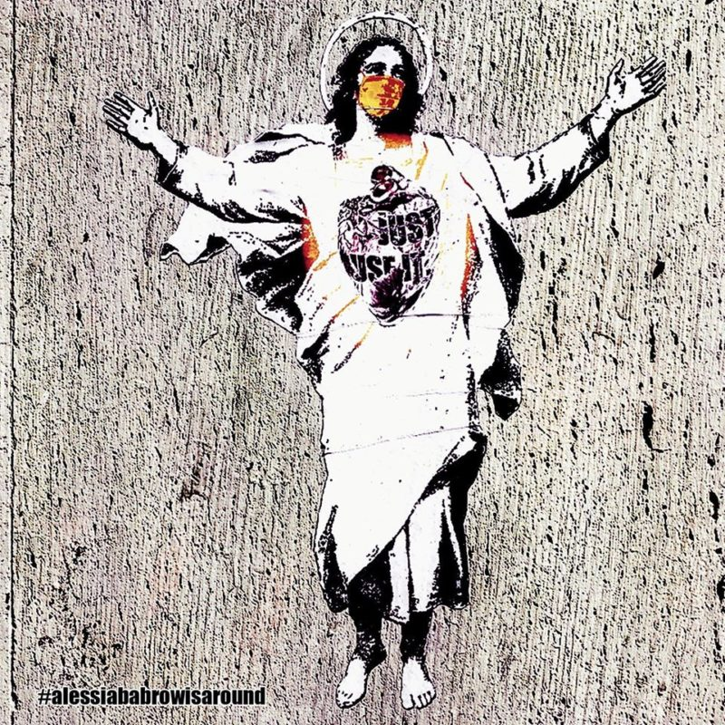 Street artist Alessia Babrow's image of Christ has now appeared, without her permission, on a set of stamps issued by the Vatican