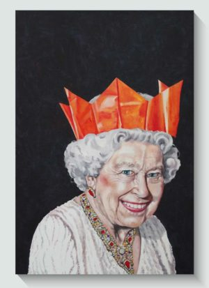 One Likes To Party Original Queen Portrait Art by Louise Bird