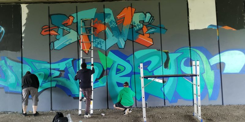 Irek, Steve and Reyo working hard on their piece for the Unity Paint Jam, which was streamed live for the whole event