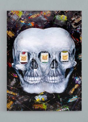 Eyes on the Prize Original Mixed Media Skull Art by Paul Kneen