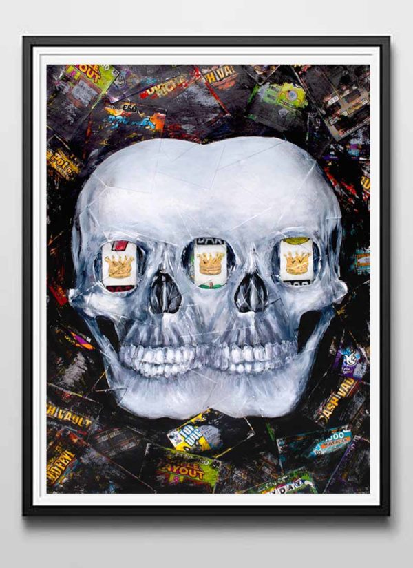 Eyes on the Prize Mixed Media Skull Signed Art Print by Paul Kneen