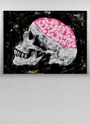 Think Original Graffiti Skull Signed Art by Paul Kneen