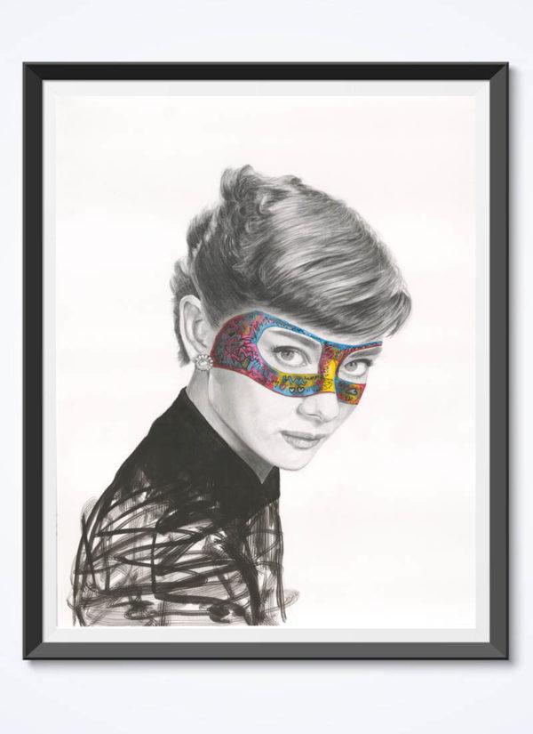 My Masked Lady Audrey Hepburn Urban Art Print by Raffaella Bertolini