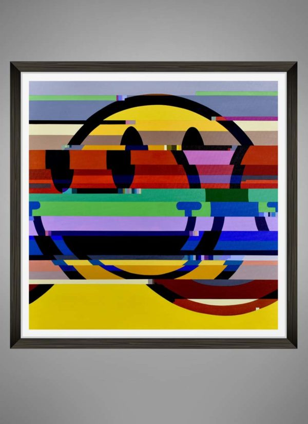 Discombobulated Glitched Smiley Face Art Print by Paul Kneen