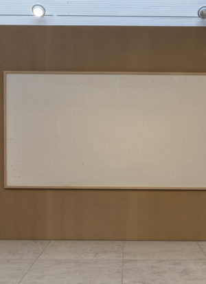 One of the blank canvasses now hanging in the Kunsten Museum as part of Jens Haanings conceptual art titled 'Take the money and run'