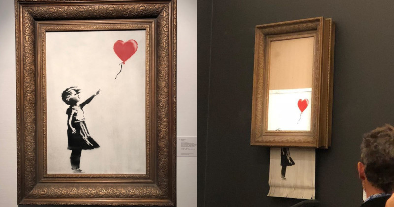 As soon as Girl with a balloon was shredded, the piece became the infamous Love is in the bin