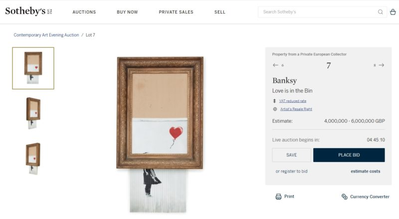 Love is in the bin goes up for auction at 6pm today. It will be interesting to see if this infamous piece will exceed or fall short of the price estimate.